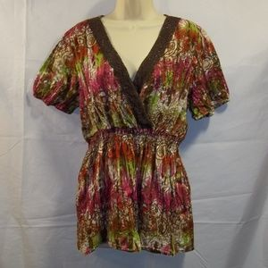 Cato Woman Tunic Top Floral Geometric Size 18/20W